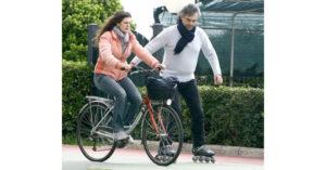Andrea Bocelli inline skating.